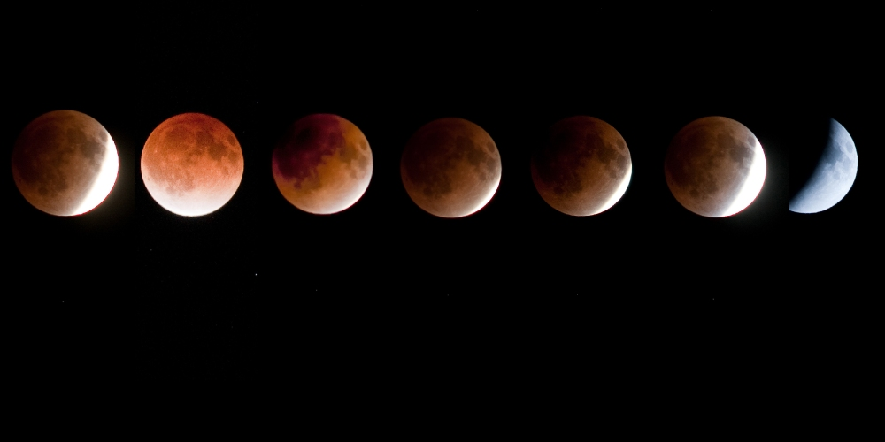 Moon turns red during total lunar eclipse